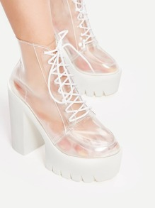 Clear Lace Up Chunky Heeled Ankle Boots