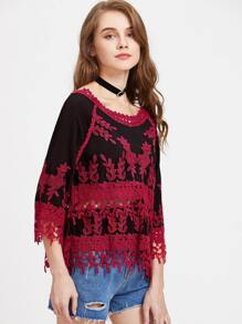 Leaf Lace Applique Boat Neck 3/4 Sleeve Top
