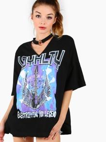 Black Boat Neck Drop Shoulder T-shirt