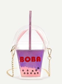 Pink Letter Print Cup Shaped Cute Crossbody Bag
