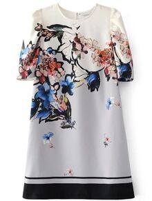 Flower Print Contrast Hem Dress