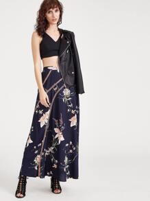 Navy Flower Print Eyelet Crochet Detail Maxi Skirt