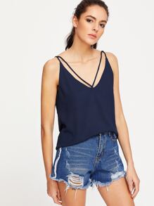 Navy Strappy Double V Neck Cami Top