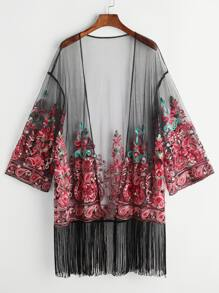 Black Fringe Trim Embroidered Mesh Kimono