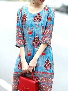 Blue Tribal Print Denim Dress