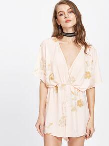 Tropical Print Plunging Elastic Waist Kimono Playsuit