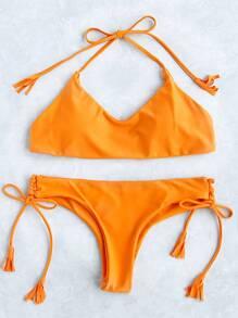Yellow Side Tie Halter Bikini Set