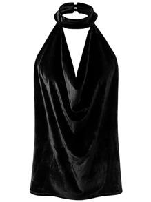Black Halter Sleeveless Velvet Top
