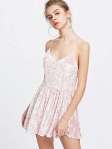 Pink Velvet Criss Cross Backless Slip Dress