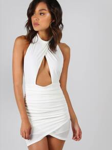 Backless Ruched Peakaboo Dress IVORY