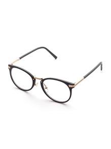 Black Frame Metal Arm Clear Lens Glasses