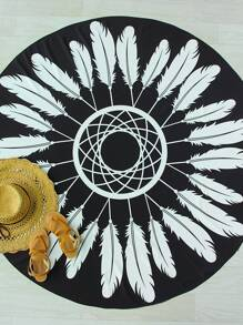 Black And White Feather Print Round Beach Blanket