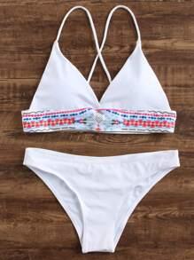 White Geometric Print Triangle Bikini Set