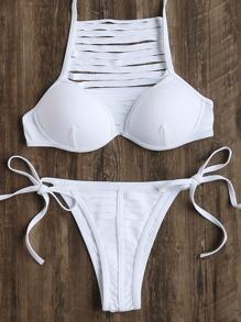 White Ladder Cutout Tie Side Bikini Set
