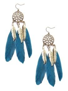 Blue Feather Drop Vintage Earrings