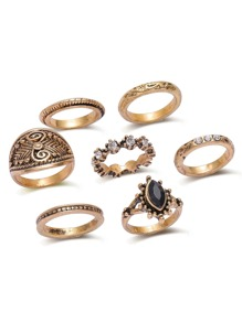 Bronze Rhinestone Design Vintage Ring Set
