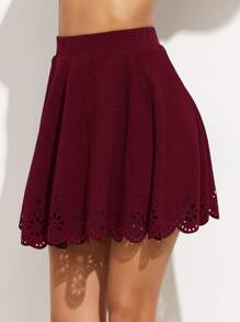 Burgundy Laser Cutout Scallop Hem Textured Skirt
