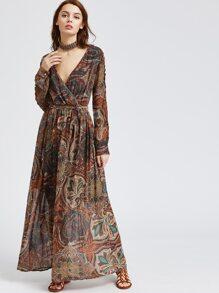V Neckline Aztec Print Warp Maxi Dress