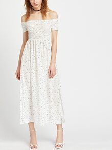 White Polka Dot Off The Shoulder Slit Side Dress