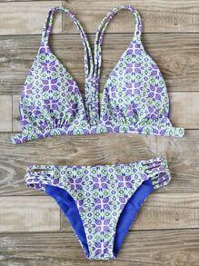 Printed Ladder Cutout Triangle Bikini Set