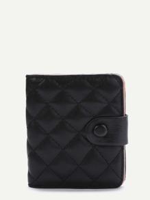 Black Fold Snap Button Wallet