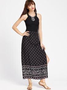 Black Ornate Print Side Slit Long Skirt