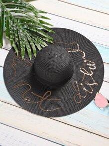 Black Sequin Letter Wide Brim Straw Hat