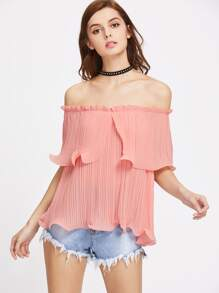 Pink Frilled Pleated Off The Shoulder Top