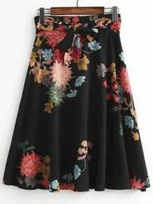 Black Flower Print A Line Skirt With Self Tie
