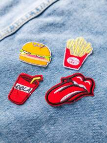 Red Embroidery Food Patch Set