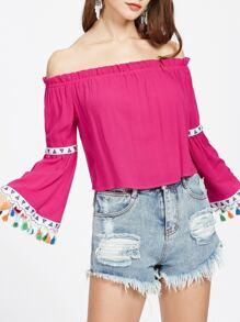 Hot Pink Tasseled Bell Sleeve Off The Shoulder Top