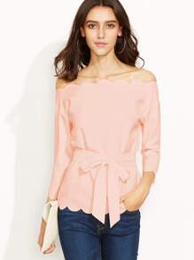 Pink Belted Scallop Trim Off The Shoulder Top