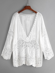White V Neck Embroidered Eyelet Crochet Lace Top