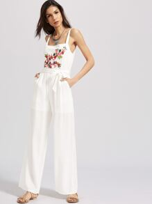 White Flower Embroidered Belted Jumpsuit