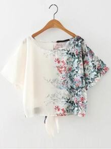 White Floral Print Tie Back Top