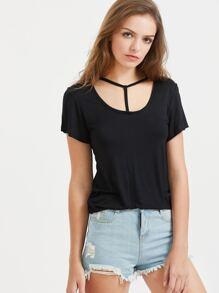 Black Cutout Neck Casual T-Shirt