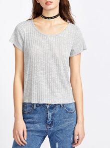 Heather Grey Ribbed Knit T-shirt