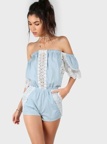 Off Shoulder Crocheted Romper LIGHT BLUE