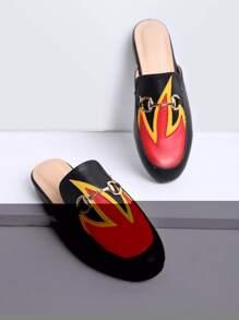 Black Color Block Flat Slippers