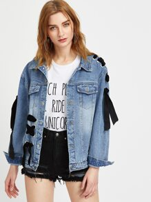 Blue Eyelet Lace Up Detail Denim Jacket