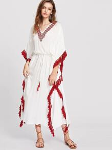 White Tassel Trim Embroidered V Neck Dolman Sleeve Dress