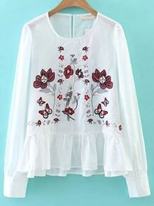 White Flower Embroidery Ruffle Hem Blouse