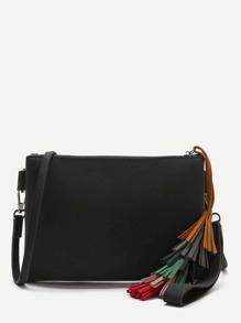 Black Tassel Detail Clutch Bag With Strap