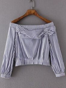 Blue And White Vertical Striped Boat Neck Blouse