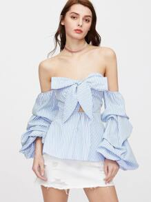 Blue Striped Bow Front Ruched Sleeve Sweetheart Peplum Top