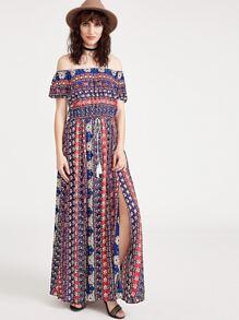 Multicolor Vintage Slit Print Off The Shoulder Dress