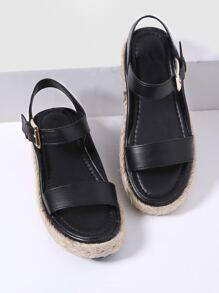 Black Strappy Espadrille Sandals