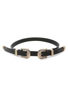 Gold Trim Double Buckle Belt