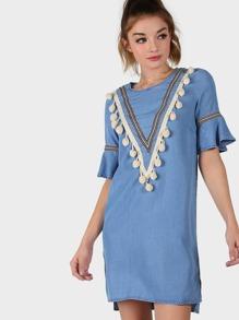 Pom Pom Short Sleeve Dress CHAMBRAY
