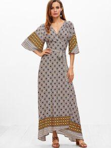 Multicolor Geo Print Flutter Sleeve Surplice Wrap Dress